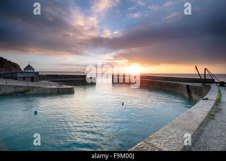 Sunrise at Charlestown an historic fishing port near St Austell in Cornwall - Stock Photo