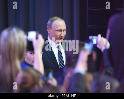 Moscow, Russia. 17th Dec, 2015. Russian President Vladimir Putin arrives for his annual year-end press conference - Stock Photo