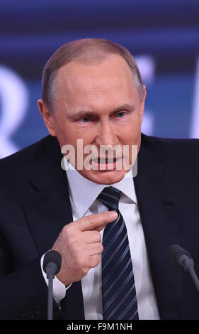 Moscow, Russia. 17th Dec, 2015. Russian President Vladimir Putin speaks during his annual year-end press conference - Stock Photo