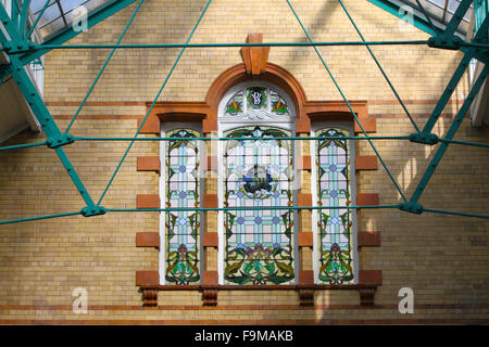 Stained glass window at Victoria Baths in Manchester, which opened in 1906 and served the public for 87 years, is - Stock Photo