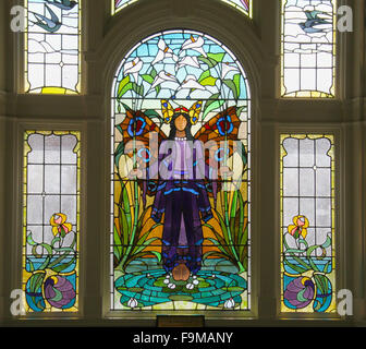 Angel of purity window - art deco stained glass at Victoria Baths in Manchester, which opened in 1906 and served - Stock Photo