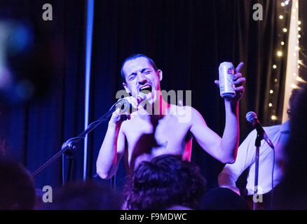 Rock band the Fat White Family in concert at The Continental, Preston, UK, 13th December 2015. Lead singer Lias - Stock Photo