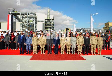 Cairo, Egypt. 17th Dec, 2015. Egyptian President Abdel Fattah al-Sisi, opens Mono and adenosine triphosphate factory - Stock Photo
