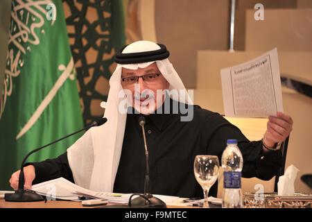 Cairo, Egypt. 17th Dec, 2015. Saudi Arabia's Ambassador in Cairo Ahmed al-Qattan speaks at a news conference in - Stock Photo