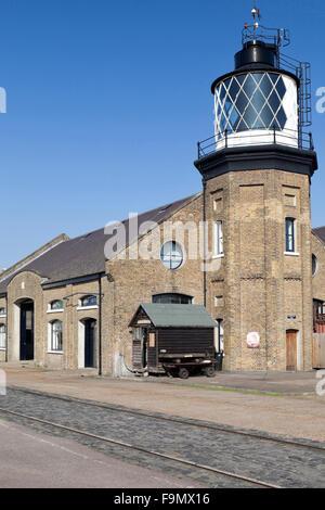Trinity Buoy Wharf Lighthouse is London's only lighthouse, East India Docks, London, E14. - Stock Photo