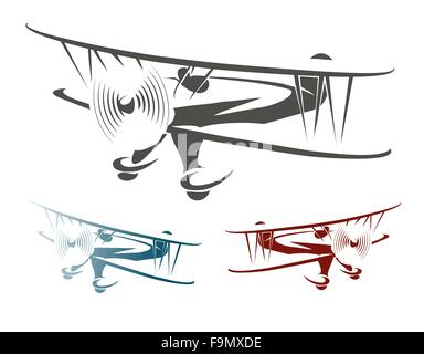 Flying Retro Airplane Emblem Set. Biplane in three color variations. Isolated on white. - Stock Photo