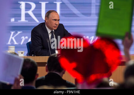 Moscow, Russia. 17th Dec, 2015. The President of the Russian Federation Vladimir Vladimirovich Putin an annual press - Stock Photo