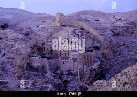 View of Mar Saba Monastery in the Judaean or Judean desert on 17 December 2015. The Greek Orthodox monastery of - Stock Photo