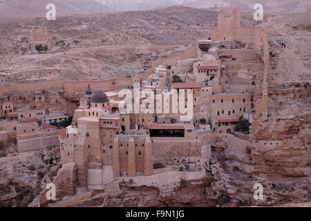 Judean Desert, Israel. 17th December, 2015.View of Mar Saba Monastery in the Judaean or Judean desert on 17 December - Stock Photo
