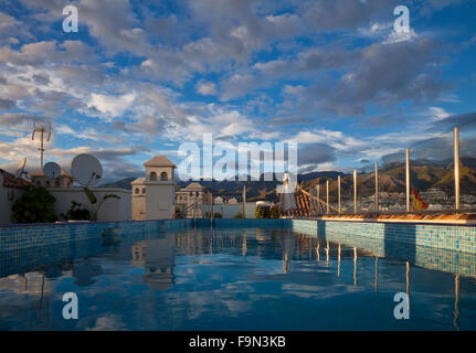 Hotel Rooftop Swimming Pool in Nerja, Costa del Sol, Malaga Province, Andalucia, Spain - Stock Photo
