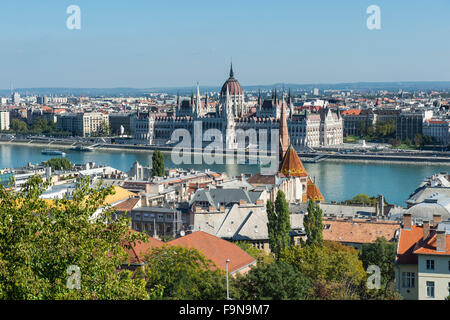 View of the Hungarian Parliament Building from Fisherman's Bastion, Budapest, Hungary - Stock Photo