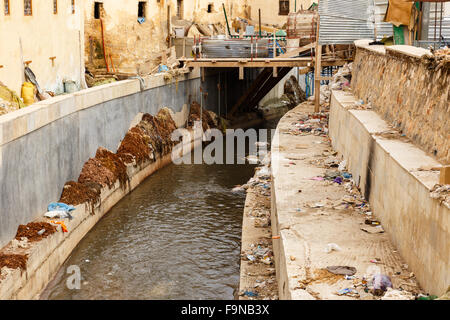 river in the city of FEZ, Morocco - Stock Photo