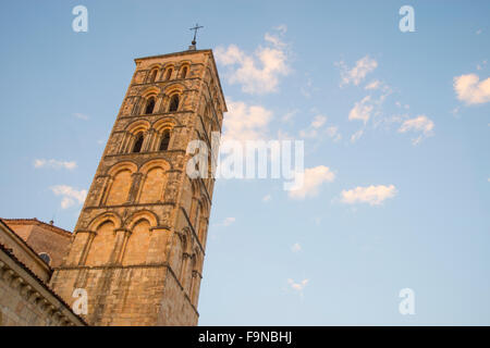 Tower of San Esteban church at dusk. Segovia, Spain. - Stock Photo