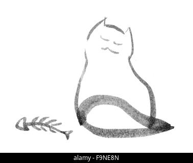 sitting cat looking dreamy, illustration - Stock Photo