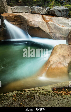 Waterfall known as 'The Basin,' a granite pothole of the Pemigewasset River in Franconia Notch State Park, New Hampshire. - Stock Photo