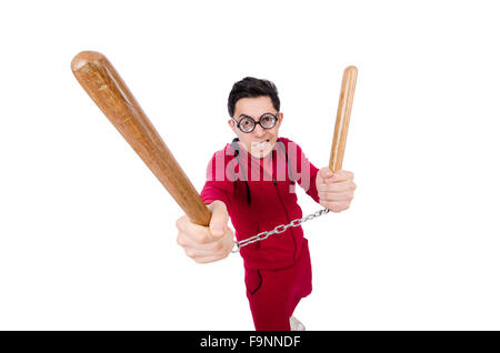 Funny sportsman with nunchuks isolated on white - Stock Photo
