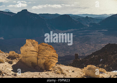 View from volcano Teide on caldera, rocks and ocean, Tenerife, Canary islands, Spain - Stock Photo