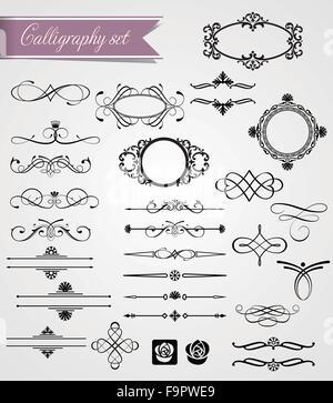 Set of victorian style decorative elements - Stock Photo