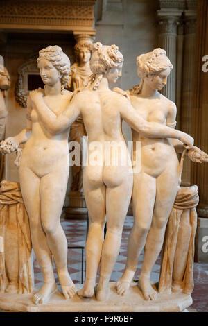 Louvre Museum. Paris. The Three Graces. Second century AD. Marble. Detail. - Stock Photo