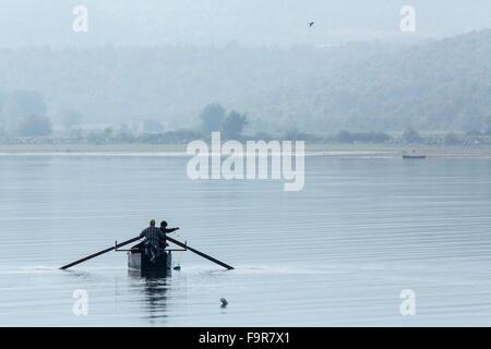 Traditional fishing on Lake Kerkini, early morning, north Greece. - Stock Photo