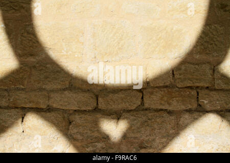 Cloister. Stone and geometrical shadow. Noirlac Abbey. - Stock Photo