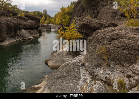 The conglomerate Venetikos river gorge, south of Grevena - Stock Photo