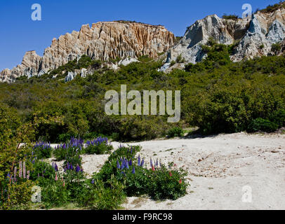 The Clay Cliffs of Omarama, South Island, New Zealand, - Stock Photo