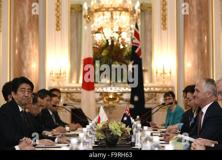 Tokyo. 18th Dec, 2015. Japan's Prime Minister Shinzo Abe (1st L) meets with his Australian counterpart Malcolm Turnbull - Stock Photo