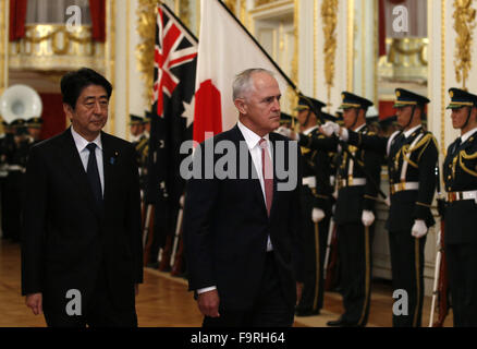 Tokyo. 18th Dec, 2015. Japan's Prime Minister Shinzo Abe and his Australian counterpart Malcolm Turnbull review - Stock Photo