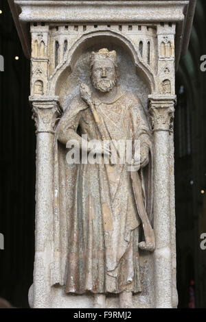 King Philip II of France (1165-1223). Amiens Cathedral. - Stock Photo