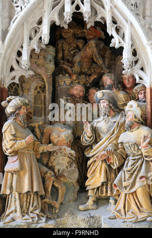 Life of St. Jacques le Majeur : 'St. Jacques orders the devils evoked by Hermogenes of garroter it. 1511. High relief - Stock Photo
