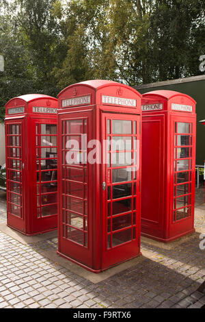 UK, England, Worcestershire, Bromsgrove, Avoncroft Museum, National Telephone Kiosk Collection, four K6 boxes - Stock Photo