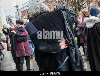 Munich, Germany. 18th Dec, 2015. Lawyers rally against the tightening of asylum law which was decided in Berlin - Stock Photo