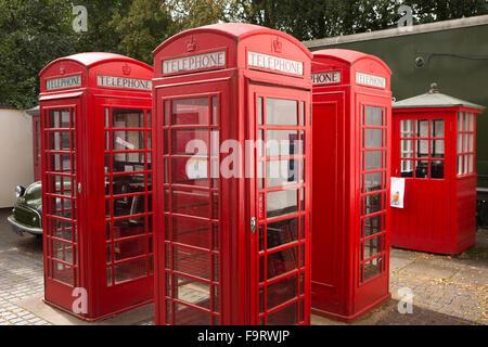 UK, England, Worcestershire, Bromsgrove, Avoncroft Museum, National Telephone Kiosk Collection, K6 boxes, Brintons - Stock Photo