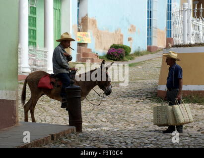 Man with cigar on donkey talking to man carrying bags, Trinidad, Cuba - Stock Photo