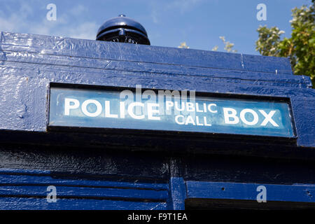 UK, England, Worcestershire, Bromsgrove, Avoncroft Museum, National Telephone Kiosk Collection, Police public call - Stock Photo