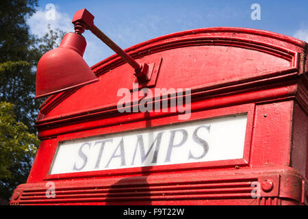 UK, England, Worcestershire, Bromsgrove, Avoncroft Museum, National Telephone Kiosk Collection, Stamps sign of 1927 - Stock Photo