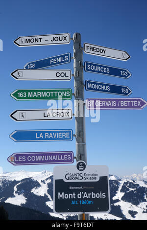 Skiing slope signs in Saint-Gervais les Bains. - Stock Photo