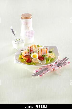 Asparaghus and salmon salad - Stock Photo
