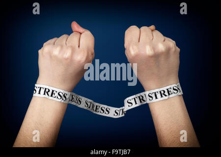 Paper strips with word Stress on person hands. Closeup. - Stock Photo