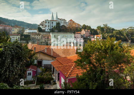 Winter day at National Palace in Sintra near Lisbon, Portugal. - Stock Photo