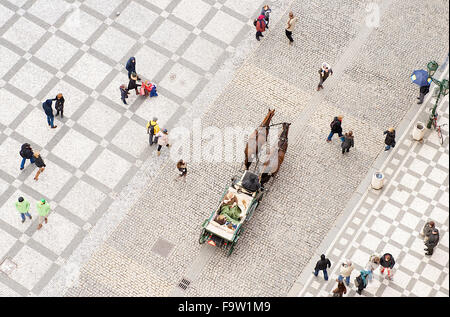 The view down onto the Christmas Market from the town hall in the town square of Prague, Czech Republic. - Stock Photo