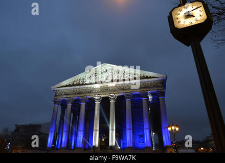 Paris. 18th Dec, 2015. Photo taken on Dec. 18, 2015 shows the Madeleine Church in central Paris, France. French - Stock Photo