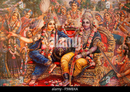 Picture displayed in an ISKCON temple : Radha and Krishna - Stock Photo