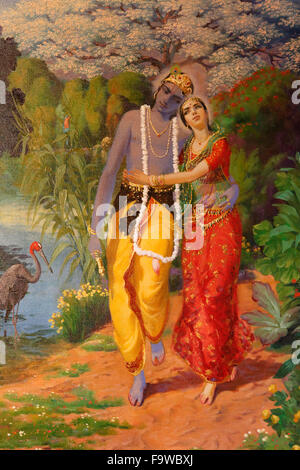 Picture displayed in an ISKCON temple : Krishna and Radha - Stock Photo