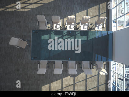 Empty conference room seen from above, 3D Rendering - Stock Photo