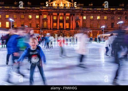 People ice skating at Somerset House Ice Rink, London England United Kingdom UK - Stock Photo