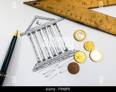 Drawing of a tax office, ballpen, ruler and coins - Stock Photo