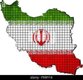 Iran map with flag inside - Stock Photo