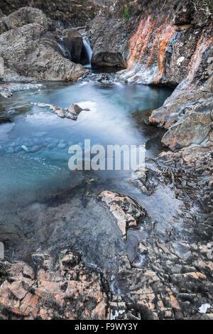 Fairy Pools in Winter in the Isle of Skye in Scotland. - Stock Photo